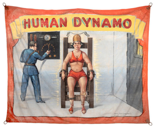 Human Dynamo sideshow banner by Fred Johnson