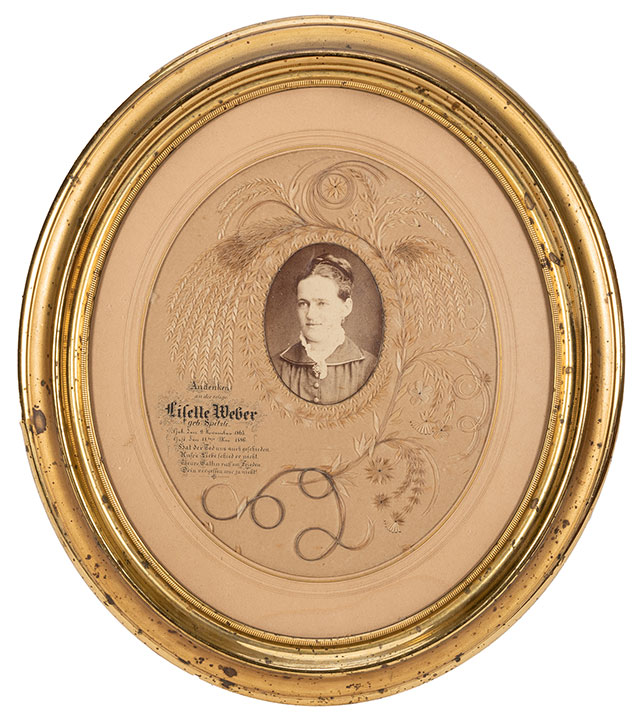 Mourning portrait of Lisette Weber with hair and straw
