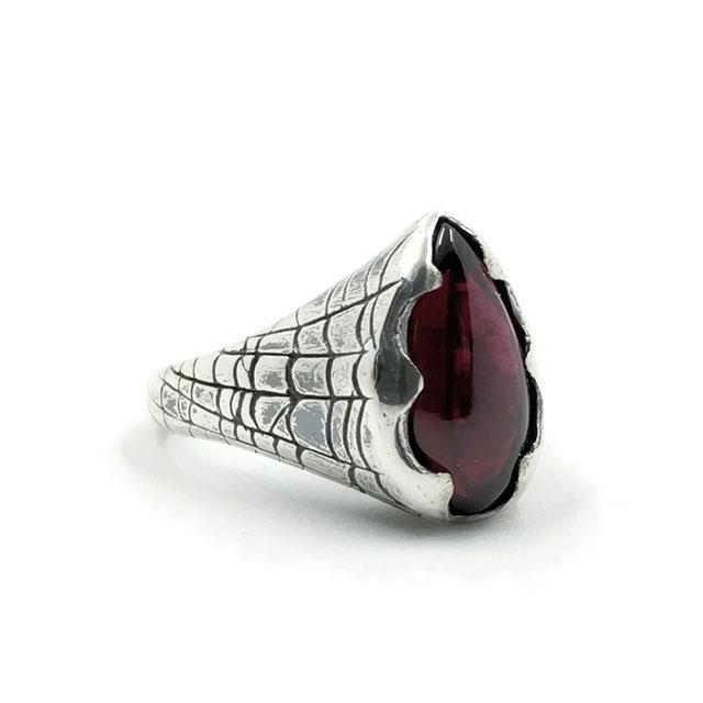 Spiderweb garnet ring