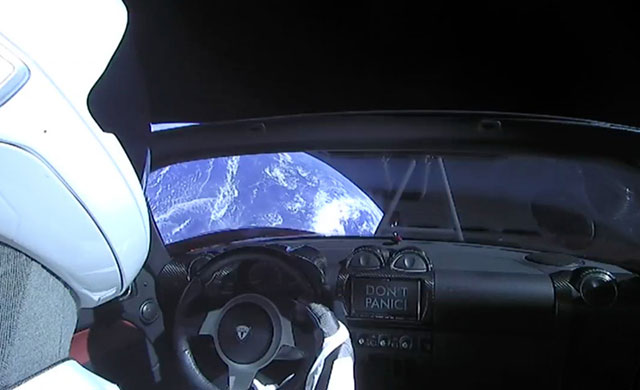 Elon Musk's Tesla Roadster in space
