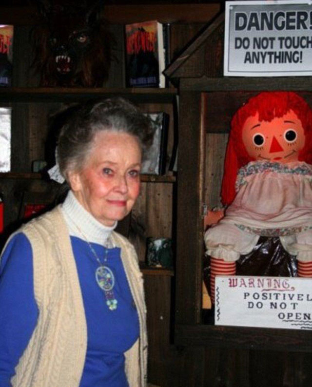 Paranormal investigator Lorraine Warren with the haunted Annabelle doll