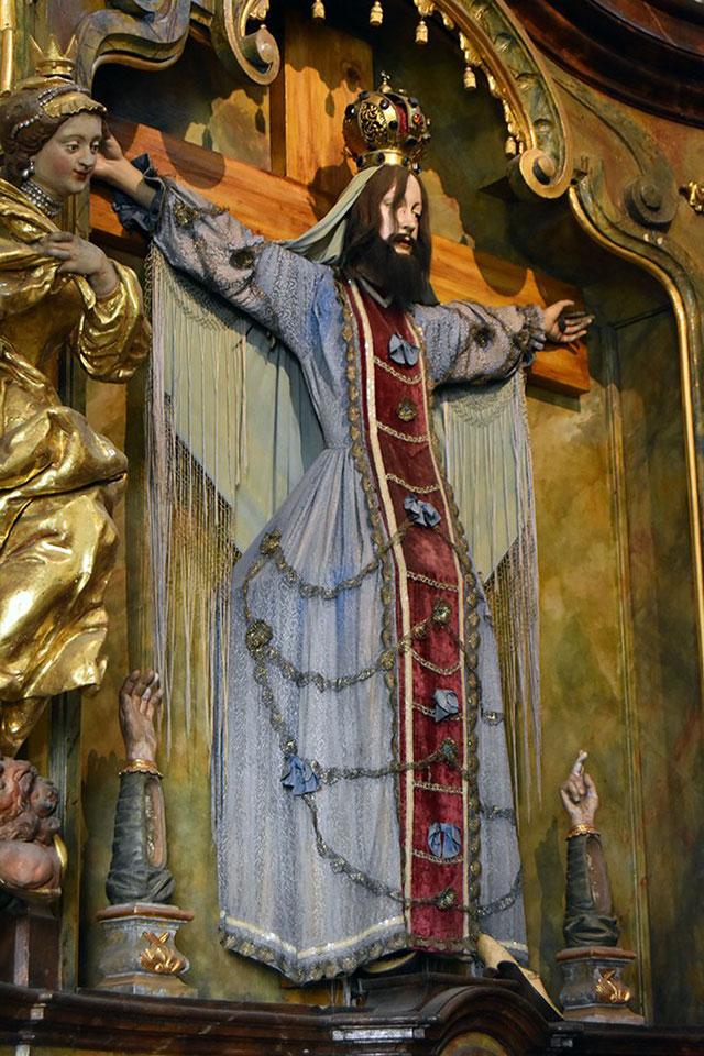 Bearded female saint Wilgefortis in Prague
