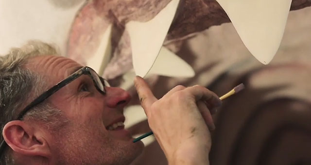 Paleo artist Gary Staab working on a megalodon for the National Museum of National History