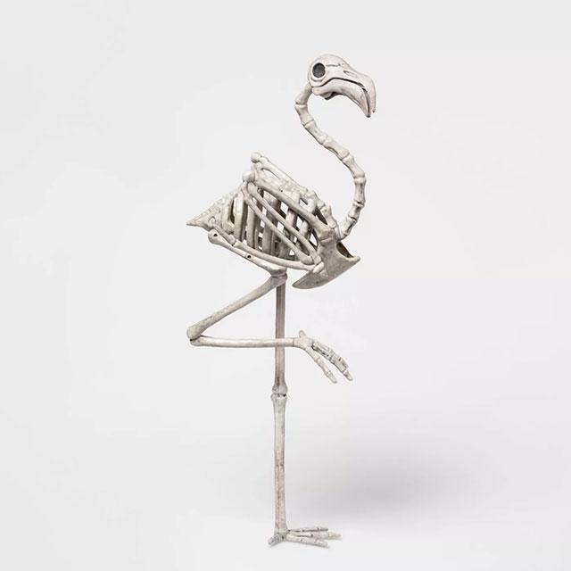 Skeleton flamingo Halloween decor