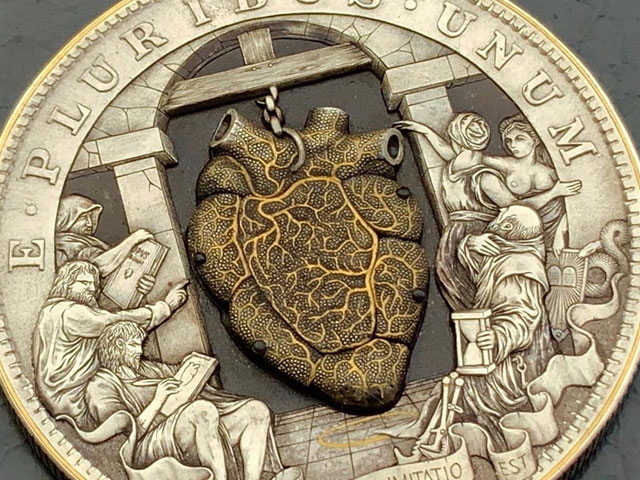 Anatomical beating heart coin