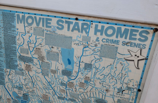 Map of movie star home and crime scenes on the Santa Monica pier