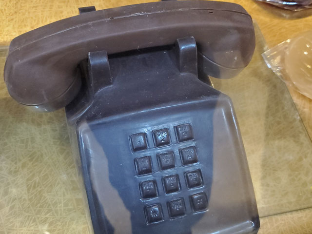 A life size chocolate telephone at Beersten's in Manitowoc