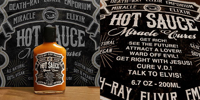 Miracle elixir hot sauce from Death-Ray Design