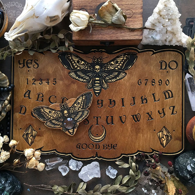 Deaths Head moth ouija board