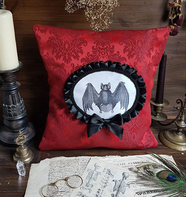 Gothic Victorian bat pillow