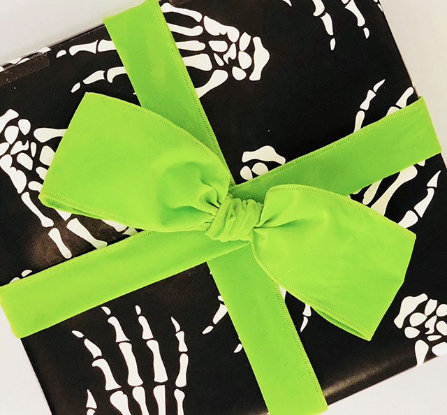 Skeleton hand wrapping paper from Skelly Paper Company