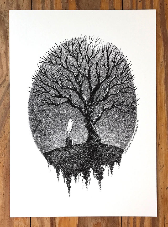 Lonely ghost art print by Laurie A. Conley