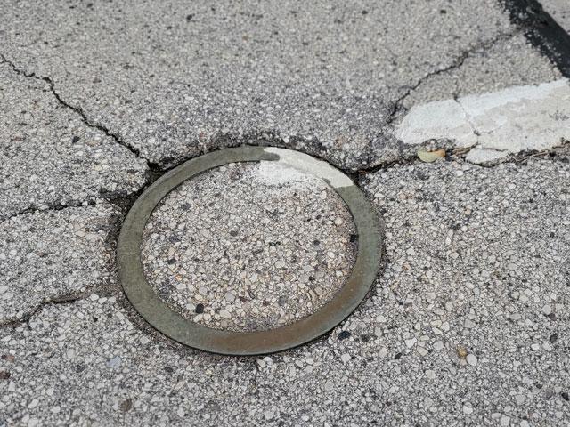 A brass ring marks where Sputnik crashed