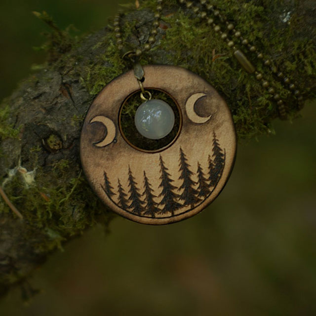 Triple moon goddess woodburned pendant