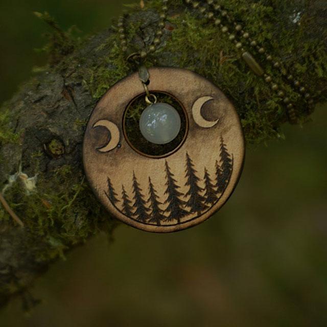Triple moon goddess woodburned pendant