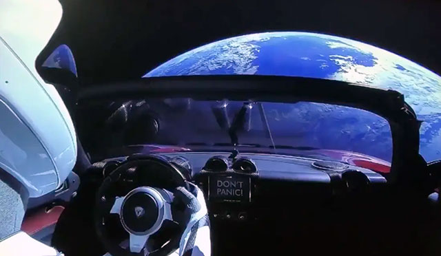 Starman's view of Earth from the red Tesla Roadster launched into space by SpaceX in 2018