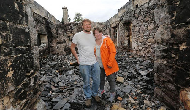 Keith and Kyra Readdy in the ruins of Aleister Crowley's Boleskine House