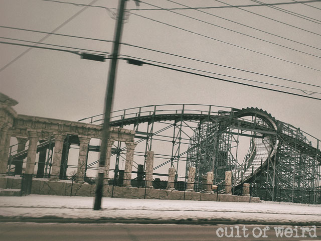 A snow-covered roller coaster at Mt. Olympus in Wisconsin Dells