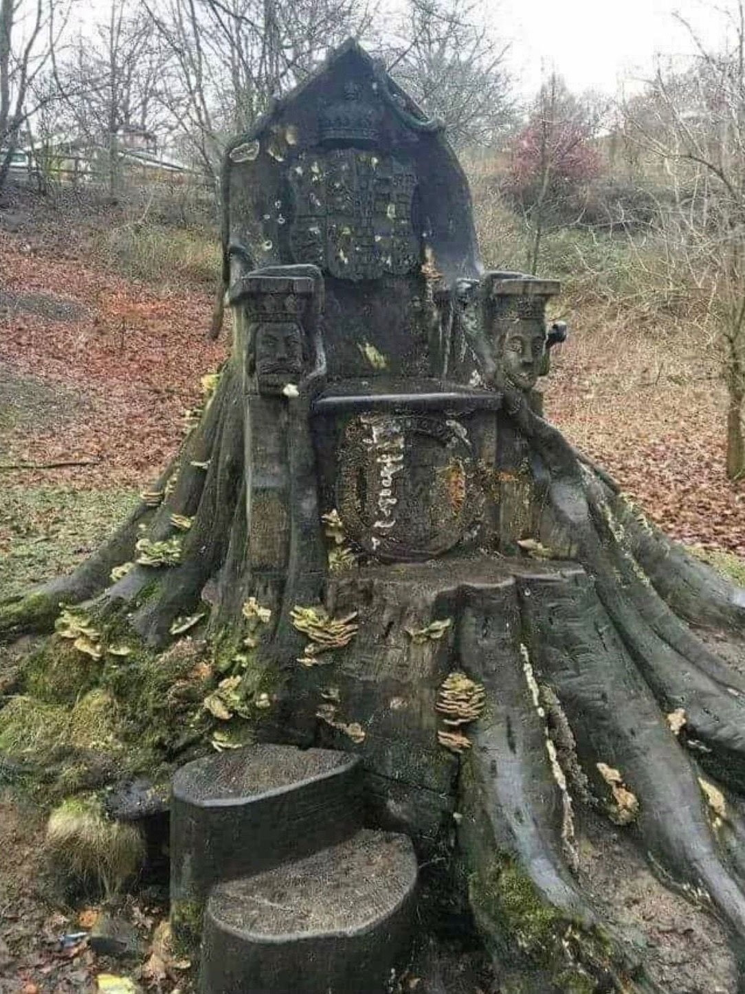 Tree trunk throne in Kendal, England