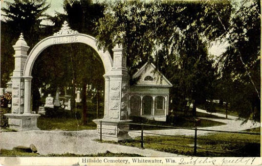 Vintage postcard of Hillside Cemetery in Whitewater, Wisconsin c.1900
