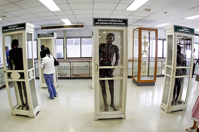 Mummified corpses of murders on display at the Siriraj Medical Museum
