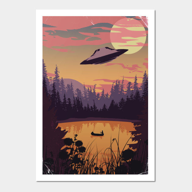 UFO over lake art print