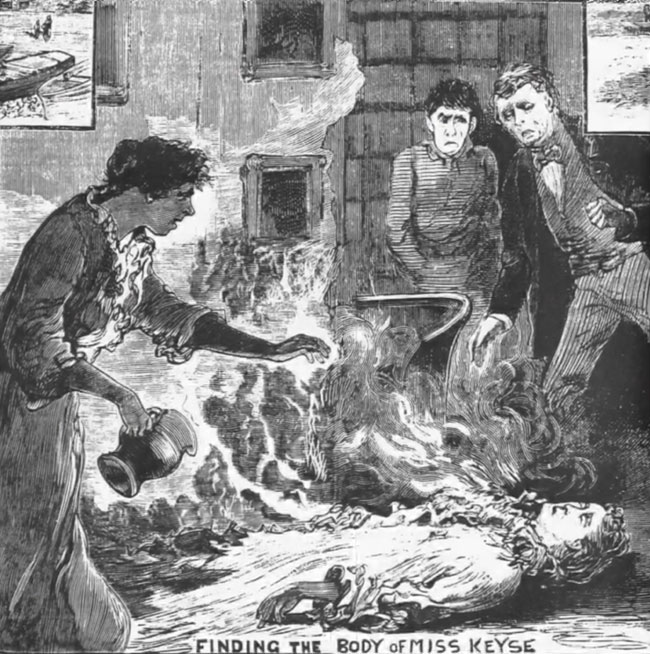 An illustration depicts the discovery of Emma Keyse's burning body