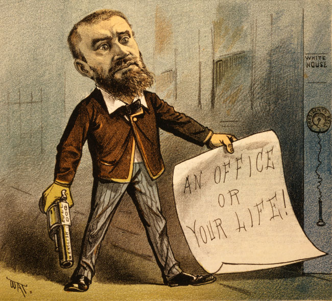 A cartoon satirizing Charles Guiteau's attempt to kill President Garfield
