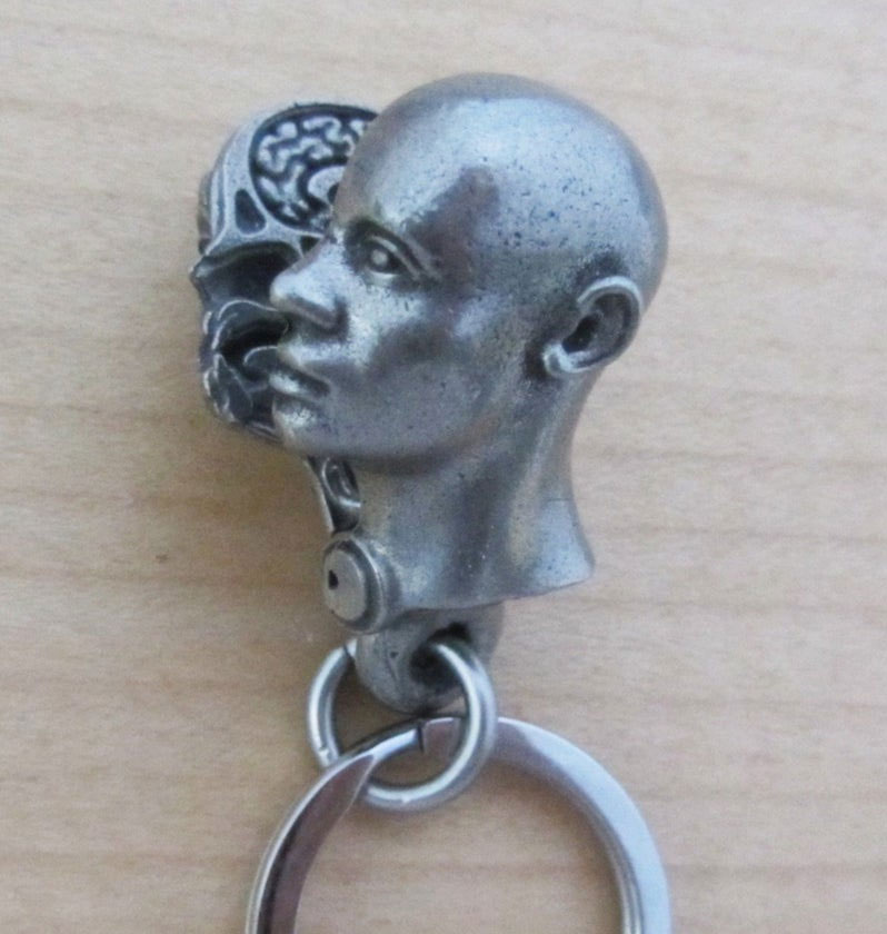 Anatomical human head keychain