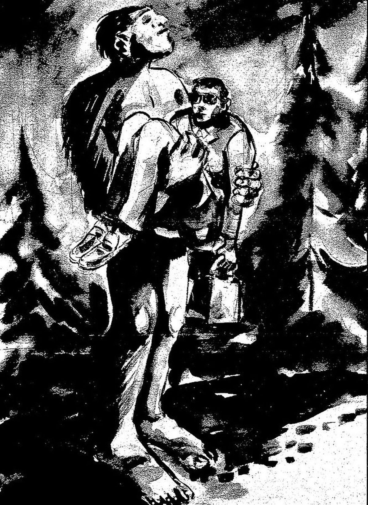 Bigfoot carries D.B. Cooper to safety after the hijacking