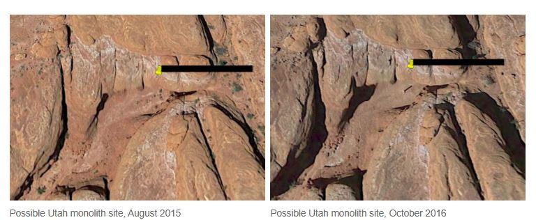 Utah Monolith as seen on Google Earth