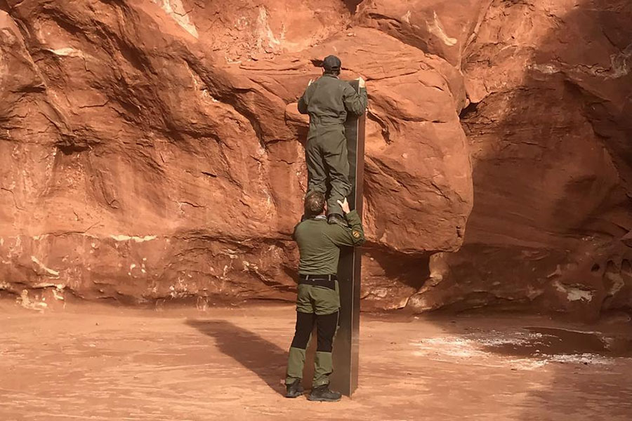 Utah Monolith inspected by helicopter crew