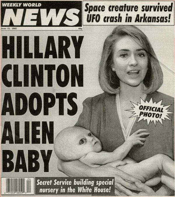 Hillary Clinton adopts alien baby