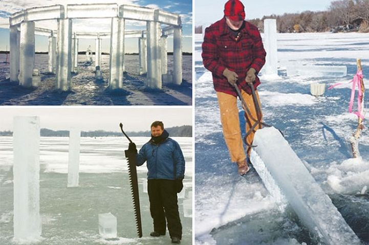 Making Icehenge on Rock Lake in Lake Mills