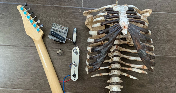 Human skeleton guitar