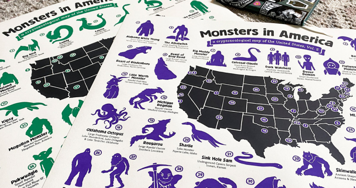 Monsters in America Cryptid Map Giveaway