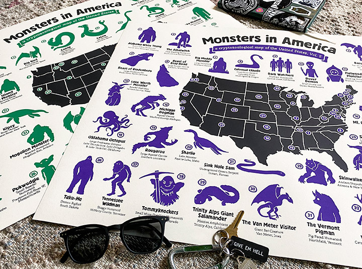 Monsters in America cryptozoology maps by Hog Island Press